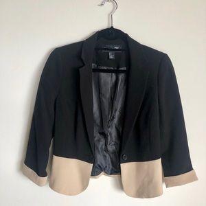 Black and Beige Blazer Jacket